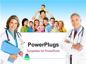 PowerPoint template displaying smiling family medical doctors and young families in the background.