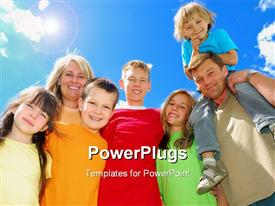 PowerPoint template displaying happy family stands together under the clear sky posing happily in the background.