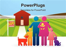 PowerPoint template displaying happy family including a tiny baby and even a dog and cat stand together in the background.