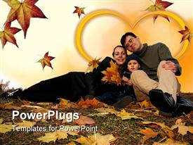PowerPoint template displaying family with autumn leaves in the background.