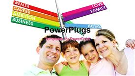 Happy family of four hugging and smiling powerpoint template