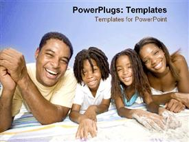 PowerPoint template displaying family laying on the beach happily in the background.