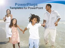 PowerPoint template displaying father and Mother playing on the beach with family in the background.