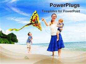 Young mother and two kids running with kite on the beach template for powerpoint