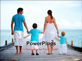 PowerPoint template displaying family of four on wooden jetty by the ocean in the background.