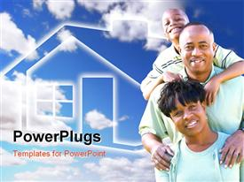PowerPoint template displaying happy African American Family Over Clouds Sky and House Icon in the background.