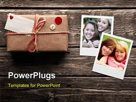 PowerPoint template displaying family love and care with frames and gift