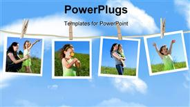 PowerPoint template displaying family photographs hanging on a clothesline against a blue sky in the background.