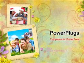 PowerPoint template displaying happy family. Father mother and sons on the green grass in the background.