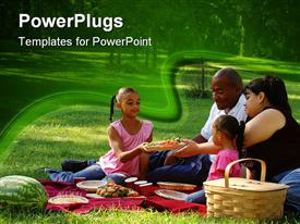 PowerPoint template displaying family of four enjoying picnic with fruits and drinks in park