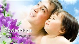 PowerPoint template displaying happy family of four hugging and smiling in the background.