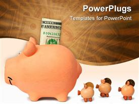 Family of piggy banks with dollar note template for powerpoint