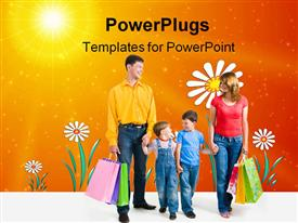 PowerPoint template displaying friendly family walking with shopping bags in the background.