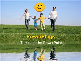 PowerPoint template displaying family of four running grass sky water in the background.