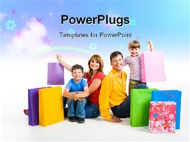 PowerPoint template displaying family together in the background.