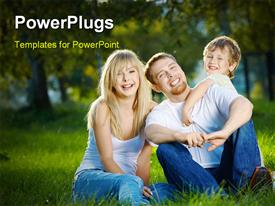PowerPoint template displaying family having fun in garden with nature & greenery