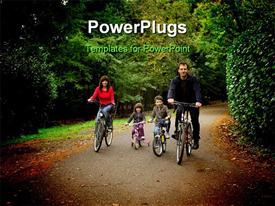 PowerPoint template displaying smiling family riding bicycles in a park with trees