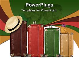 PowerPoint template displaying four Suitcases with Summer Hat and Cuddly Bunny