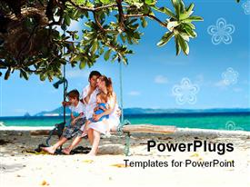 PowerPoint template displaying family of four having fun on tropical beach in the background.