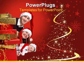 PowerPoint template displaying happy young family of three wearing Santa's hats in the background.