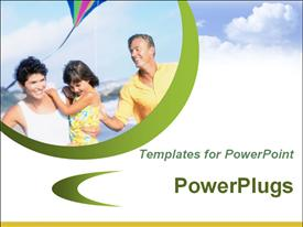 PowerPoint template displaying template with a happy family flying a kite and sky with clouds in the background.