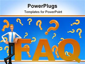 PowerPoint template displaying 3D cartoon figure standing against the F letter in word FAQ with orange question marks on blue background