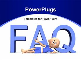 PowerPoint template displaying cartoon presenting FAQ with white color