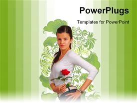 PowerPoint template displaying young beautiful girl posses with rose over floral background and green bars
