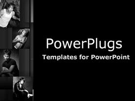 PowerPoint template displaying black and white four depictions of male models in various positions