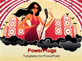 PowerPoint template displaying beautiful female musician with mic and huge speakers in background