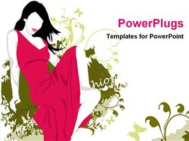PowerPoint template displaying abstract depiction of a female lady in a pink gown