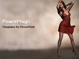 PowerPoint template displaying fashion model woman lady with red dress and high heels sandals on foggy background