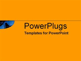 PowerPoint template displaying flash of blue sunglasses on hot orange