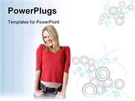 PowerPoint template displaying a beautiful girl with white background