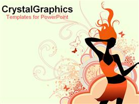 PowerPoint template displaying drawn depiction of girl dancing