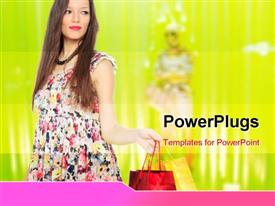 PowerPoint template displaying woman in front of a shop Window with shopping bags