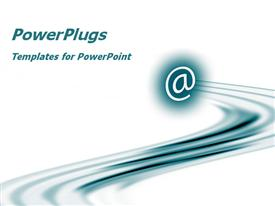 PowerPoint template displaying email at symbol in blue with streak, white background, global network, IT, communications