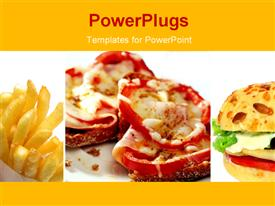 PowerPoint template displaying fast food theme with pizza, burger and french fires, yelow color