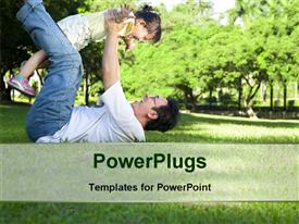 PowerPoint template displaying happy father and little girl on the grass with trees