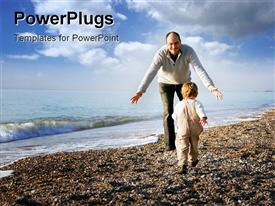 PowerPoint template displaying happy father and son playing on beach in the background.
