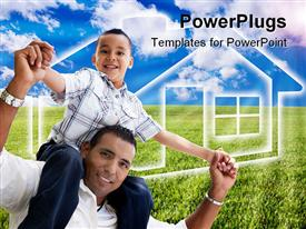 PowerPoint template displaying happy Hispanic Father and Son Over Grass Field Clouds Sky and House Icon