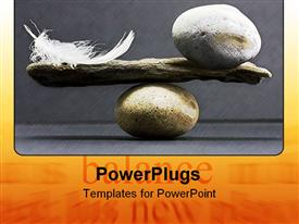 PowerPoint template displaying feather and a stone equally balance in the background.