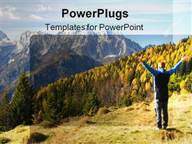 PowerPoint template displaying back of man with wide open hands on top of mountain looking at trees forest mountains