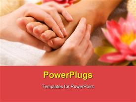 PowerPoint template displaying woman enjoying a feet massage with flowers