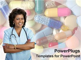PowerPoint template displaying hispanic female doctor smiles in the background.