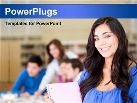Beautiful female student at the library and smiling powerpoint design layout