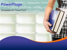 PowerPoint template displaying student with books depicting educational concept with blue color