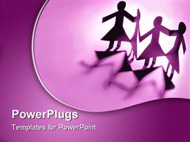 PowerPoint template displaying group of paper doll females holding hands
