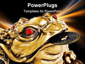 PowerPoint template displaying chinese Feng Shui Frog with coins