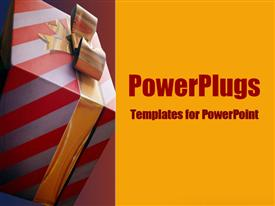 PowerPoint template displaying beautifully gift-wrapped and ready to be opened